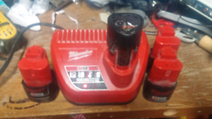 Milwaukee M12 Li-Ion Batteries with Charger