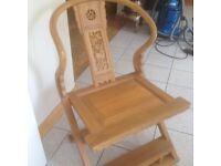 Unusual handmade, hardwood carved chairs (2). Light colour