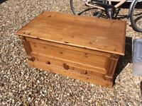 Large wooden pine chest with drawers