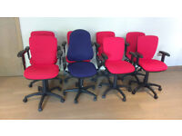 8 x office chairs with arms available – 7 red / 1 blue