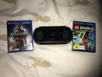 Ps vita and 2 games with 8gb memory card.