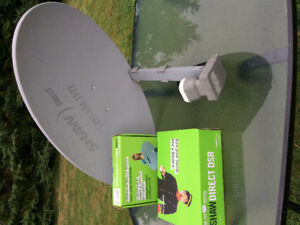 Shaw satellite dish with 2 HD receivers and remotes and 1 non HD