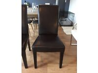 Dark brown leather chairs x 6
