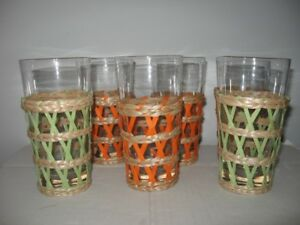 Retro set of Patio glasses wicker sleeve covers