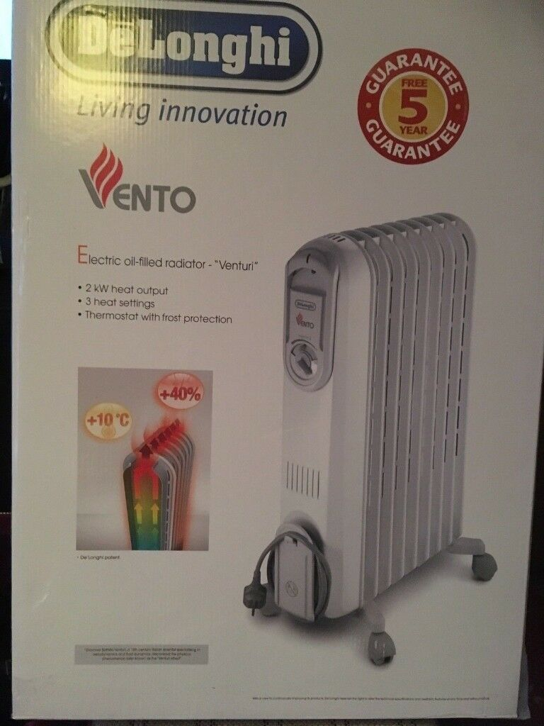"""Delonghi Electric Oil filled Radiator """"Venturi"""" V550920 (BRAND NEW! 4 years warrantyin Islington, LondonGumtree - Delonghi electric oil filled radiator """"Venturi"""" , Type V550920. Brand new, 4 years of original warranty from Delonghi still left. I bought it last year for £74 but never used. Will provide receipt and Warranty. Only local pick up from Arsenal , N5..."""