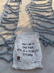 John Deere Tire chains for lawn tractor almost new no rust