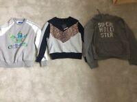 Sweatshirts x 3. Adidas/Top Shop/Hollister. Suitable for ages 12-16
