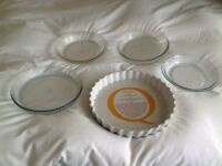 A selection of glass, ceramic and stainless steel dishes