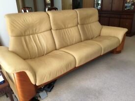 2 & 3 Seat Sofa Set, Stressless recliner, mustard/ cream colour