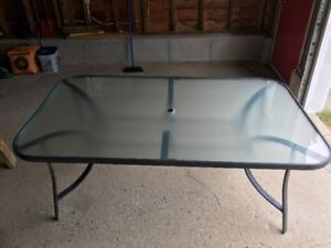 "Glass Top Patio Table - 38"" by 66"""