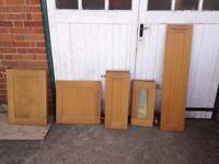 Kitchen cupboard doors (oak) and stainless steel handles