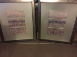 Pair of Large Matching Framed Modern Art Pieces-Almost 4' Tall