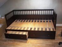 Black IKEA Hemnes extendable Day Bed with 2 drawers sofa REAL WOOD