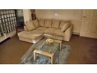 Left hand L Shape corner sofa (Jumbo cord) and glass coffee table