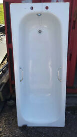 white steel twin grip bath 1700 x 700mm, anti slip base, c/w taps, waste kit & legs