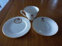 Queens Silver Jubilee Bone China Three piece set
