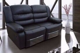 Tillie 3&2 Luxury Bonded Leather Recliner Sofa Set With Drink Holder