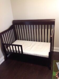 crib, organic  mattress and matching 5 drawer dresser