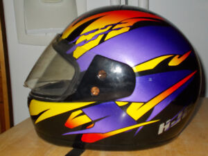 motorcycle helmet, full face multi color worn a couple of times,