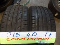 MATCHING PAIR 215 40 17 contis 6MM TREAD £70 PAIR SUPP & FITD (loads more av}