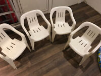 4 kids white plastic garden chairs (ideal for party) 4 chairs for £8, or 8 for £15