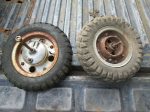 2 mini bike wheels 1 honda 50 mini trail front. other unknown