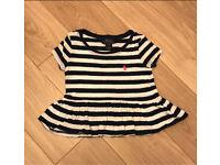 Girls Ralph Lauren Polo stripy T-shirt 2/3 three years top