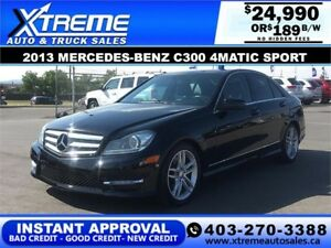 2013 Mercedes-Benz C300 4Matic Sport $189 b/w APPLY NOW