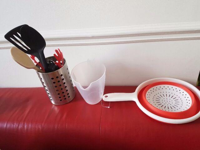 6c59cfcfea82 Kitchen Tin Opener Red Tongs Peeler Wooden Spoon Utensils Jug   Colander