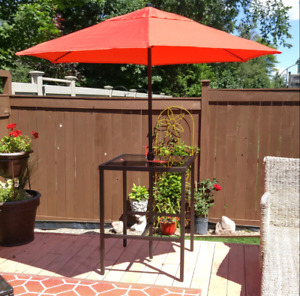 High-top Bistro table and umbrella