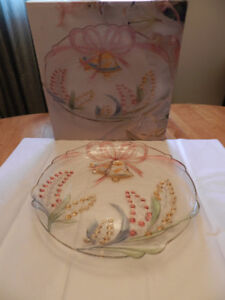 NEW, 15 INCH HOSTESS PLATTER with wedding bells etched in glass.