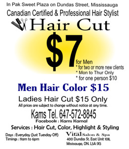 Hair Cut $7 for Men, Canadian Certified Hair Stylist Mississauga