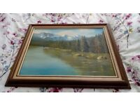 Old signed mountain framed painting