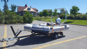 Bombard Typhoon 360S with Honda BF20 and trailer