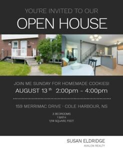 OPEN HOUSE in Cole Harbour - August 13th 2:00-4:00 p.m.