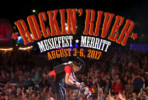4 admission and 4 camping to Merritt Rockin River Musicfest