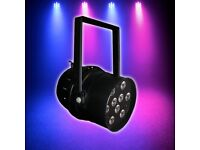 2x Disco Light-Professional black aluminium Par 56 Can-9 x 3W Ultra bright tri-colour LEDs-