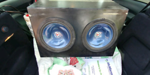 4 kenwood 10 inch subs in a  box with Kenwood Amplifier