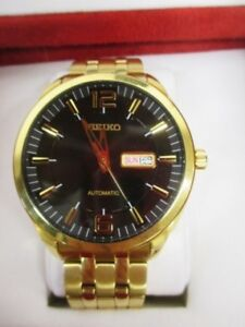 Seiko Mens Recrafted Series Black Dial Gold Watch ( New )