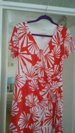 Orange and white lined dress size 14 never been worn