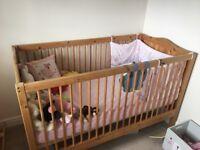 Pine cot, cot mattress and children's wardrobe
