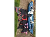 kayak inflatable sevylor rivierra with seats oars wet suits