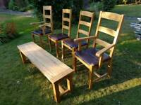 4 solid oak and leather dining chairs and bench