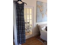 Fat face maxi summer dress blue and white size 10