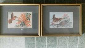 Woven silk pictures of a wren and humming bird