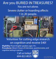 Clutter or Difficulty Discarding?Participate for UBC Psychology!