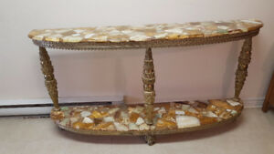 Beautiful marble mosaic onxy consol  table