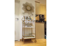 Faux Marble and Gold Bar Cart Cocktail Trolley
