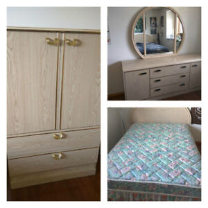 3-piece bedroom set (dressers + bed/mattress)