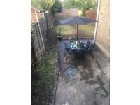 Black Garden Table & 6 Chairs & Parasol (2 months old)